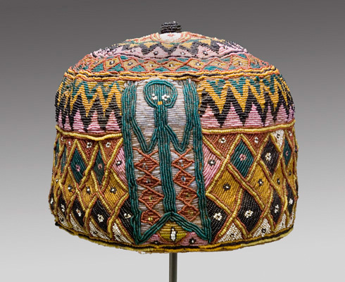 African beaded hat, Mead Art Museum