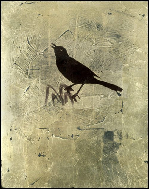 Black Bird Polaroid Emulsion Over Gold Leaf And Clay On Board, 10 X 8""