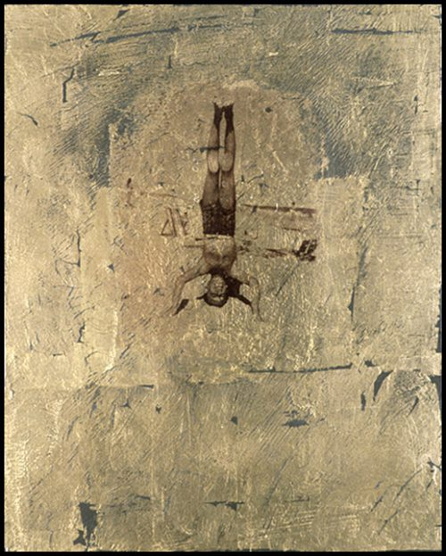 Headstand Polaroid Emulsion Over Gold Leaf And Clay On Board, 10 X 8""